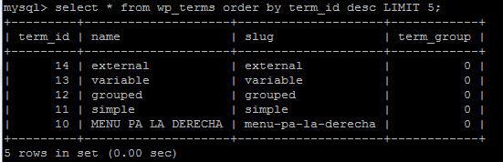 ver los últimos registros de una tabla mysql