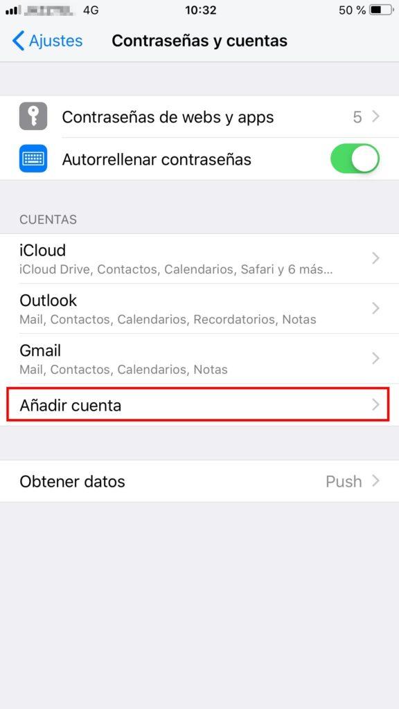 añadir cuenta iphone