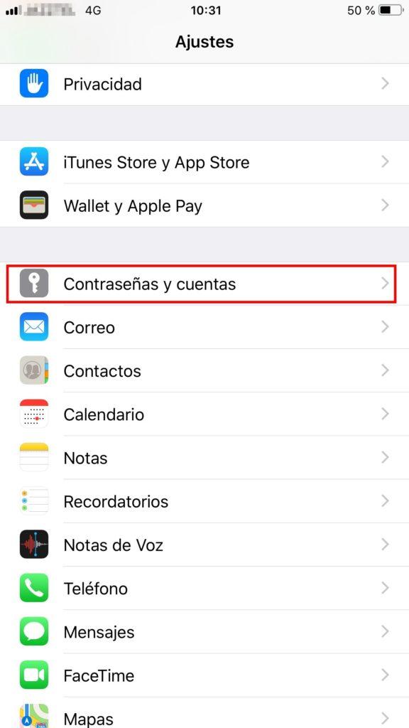 configurar correo iphone